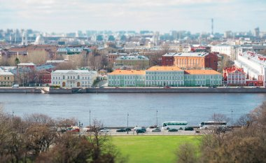 Embankment of Neva river and Faculty of Philology of St. Petersburg State University.