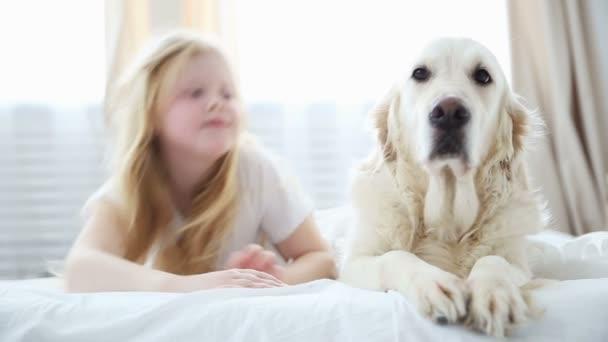 Leben Der Haustiere In Der Familie Eine Kleine Blonde Madchen Liegt