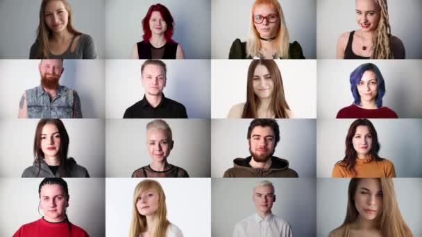 portréty mladých usmívajících se moderních lidí ve studiu, koláž
