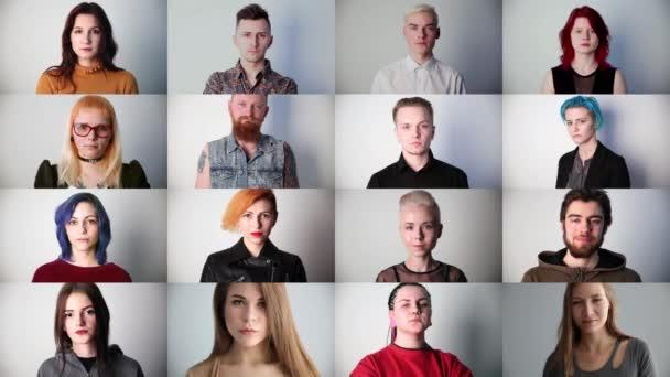 portréty mladých seriózních moderních žen ve studiu, koláž