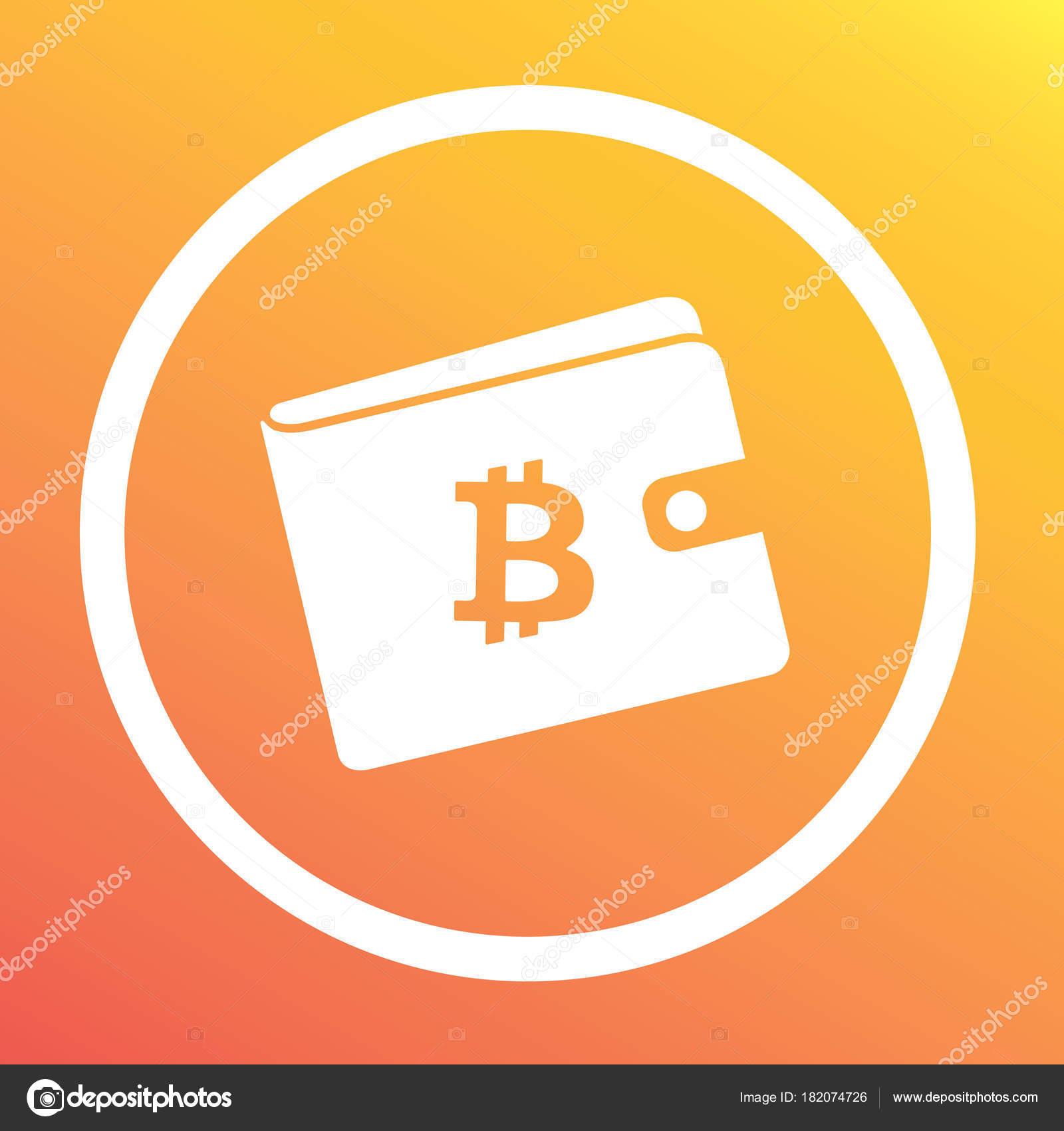 Witte Portemonnee.Bitcoin Witte Portemonnee Met Logo Op De Oranje Achtergrond