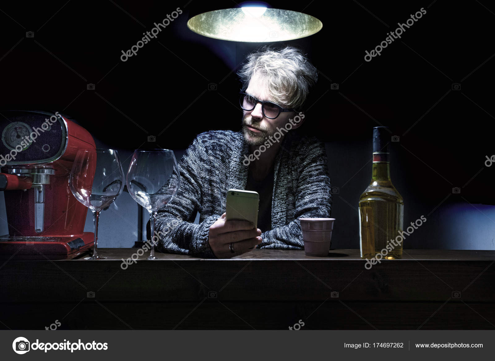 Young Man Sitting In A Pub At The Bar Stock Photo Wvdz 174697262
