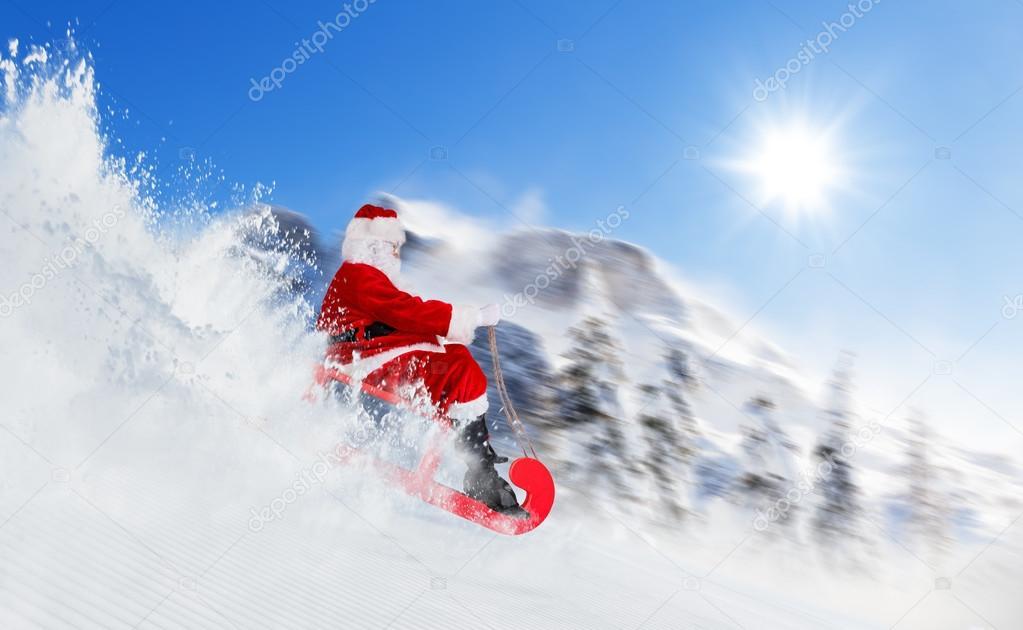 Santa Claus running downhill