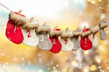 Advent calendar on blur background