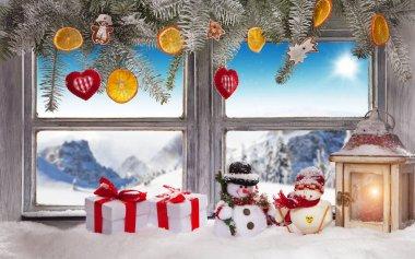 Vintage wooden window overlook winter landscape.