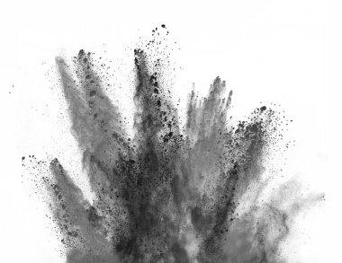Explosion of black powder on white background