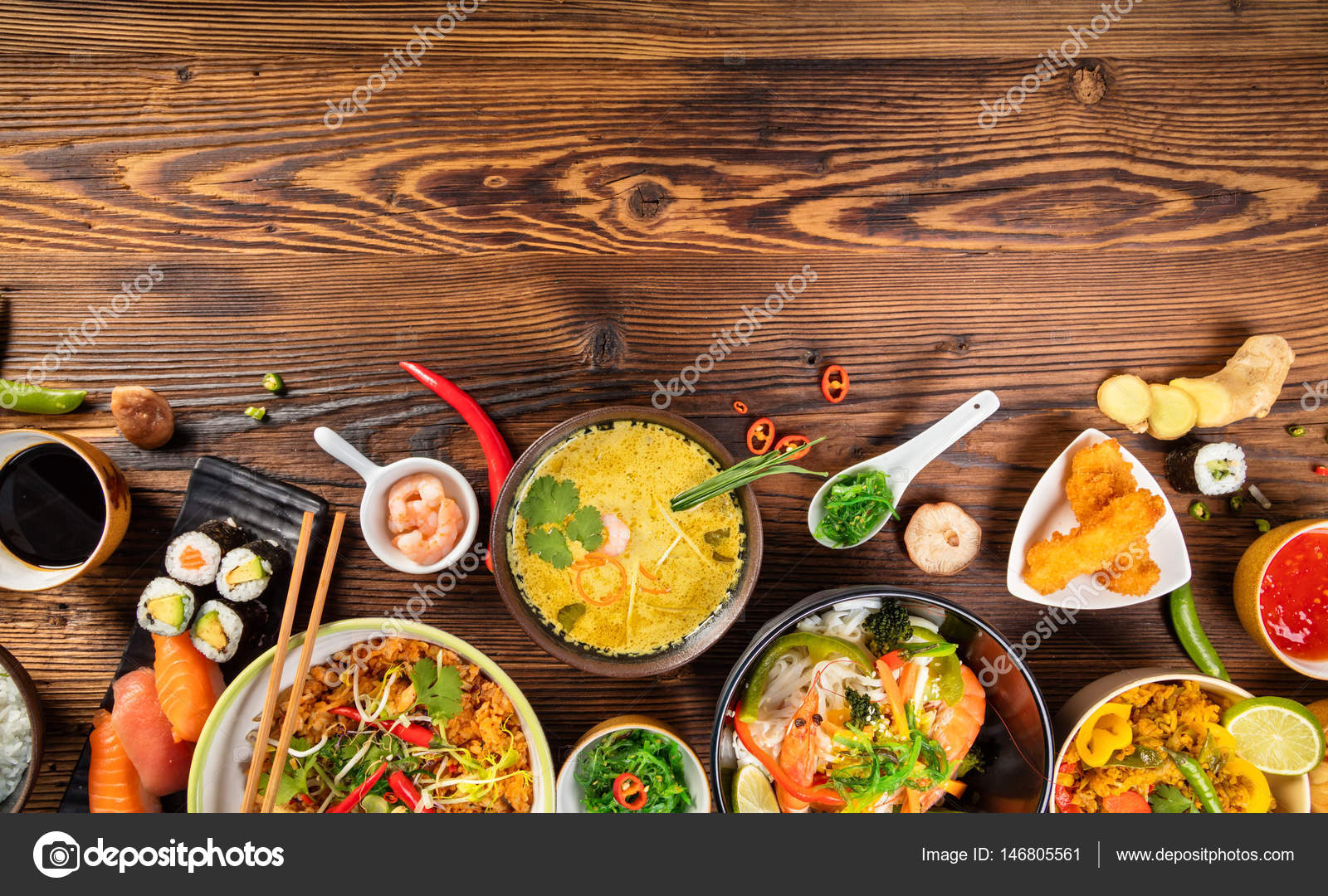 asian food table with various kind of chinese food stock photo jag cz 146805561. Black Bedroom Furniture Sets. Home Design Ideas