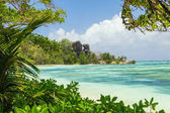 Beautiful beach of Seychelles, island La Digue, Anse Source dArgent