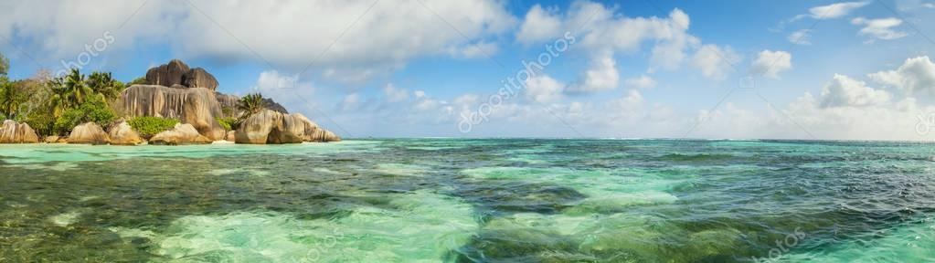 Beautiful beach of Seychelles, island La Digue, Anse Source d'Argent