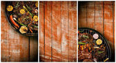 Fotografie Banners of fresh meat and vegetable on grill placed on wooden pl
