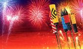 Tűzijáték rakéták indítása az égbe csoportja