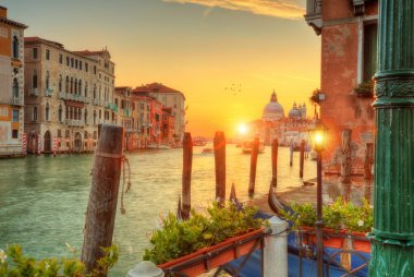 Beautiful sunrise in Grand canal with Church of Santa Maria della Salute, Venice, Italy, European Union. Famous historical heritage. stock vector