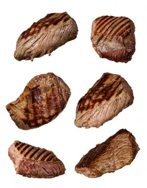 Grilled beef steaks in various kinds, collection on white backgr
