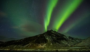 Beautiful aurora borealis in Iceland, shot in early winter perio