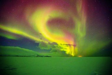 Beautiful aurora borealis in Iceland, shot in early winter perio