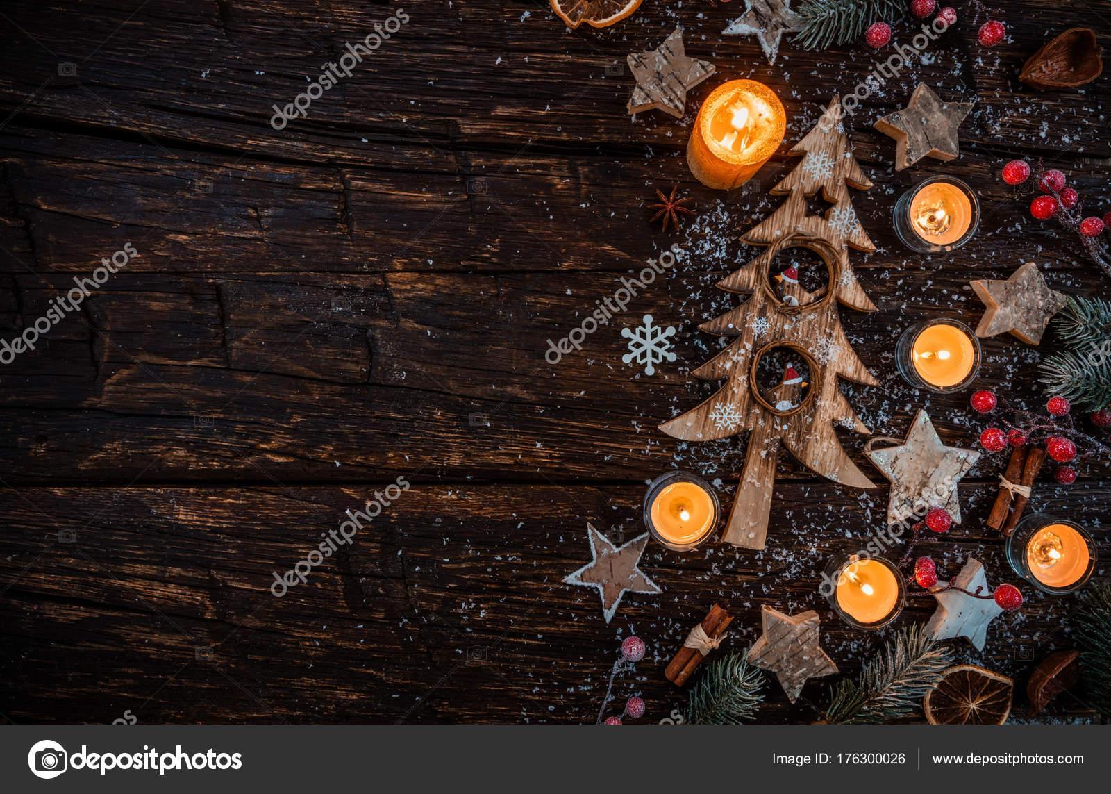 Fond De Noël Avec Des Décorations En Bois Et Des Bougies S