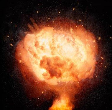 Atomic bomb explosion isolated on black background