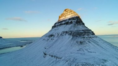 Aerial view of famous mountain Kirkjufell, Iceland