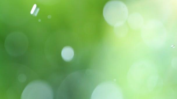 Szuper lassított felvétel elmosódott víz csepp elvont zöld háttér. Nagyon nagy sebességű mozi kamera, 1000 fps.