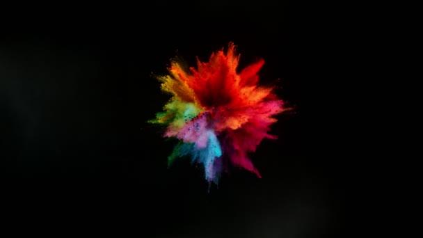 Super zpomalení výbuchu barevného prášku izolovaného na černém pozadí. Natočeno na vysokorychlostní kameře, 1000fps.