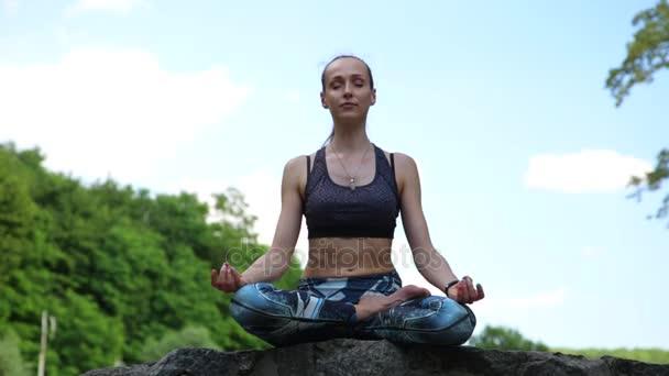 Junge Frau macht Yoga-Übungen im grünen Park