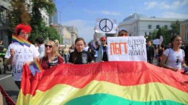 KYIV, UKRAINE - 18 JUNE: LQBT gay lesbian pride parade march of equality in Kiev