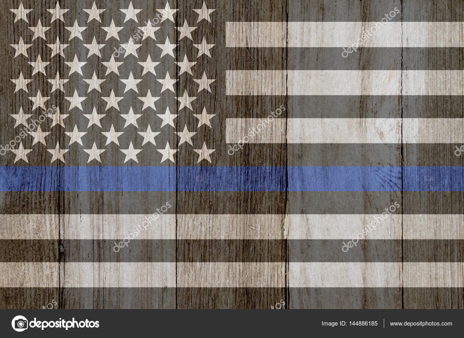 A Rustic Old Thin Blue Line Flag On Weathered Wood For Background Photo By Karenr