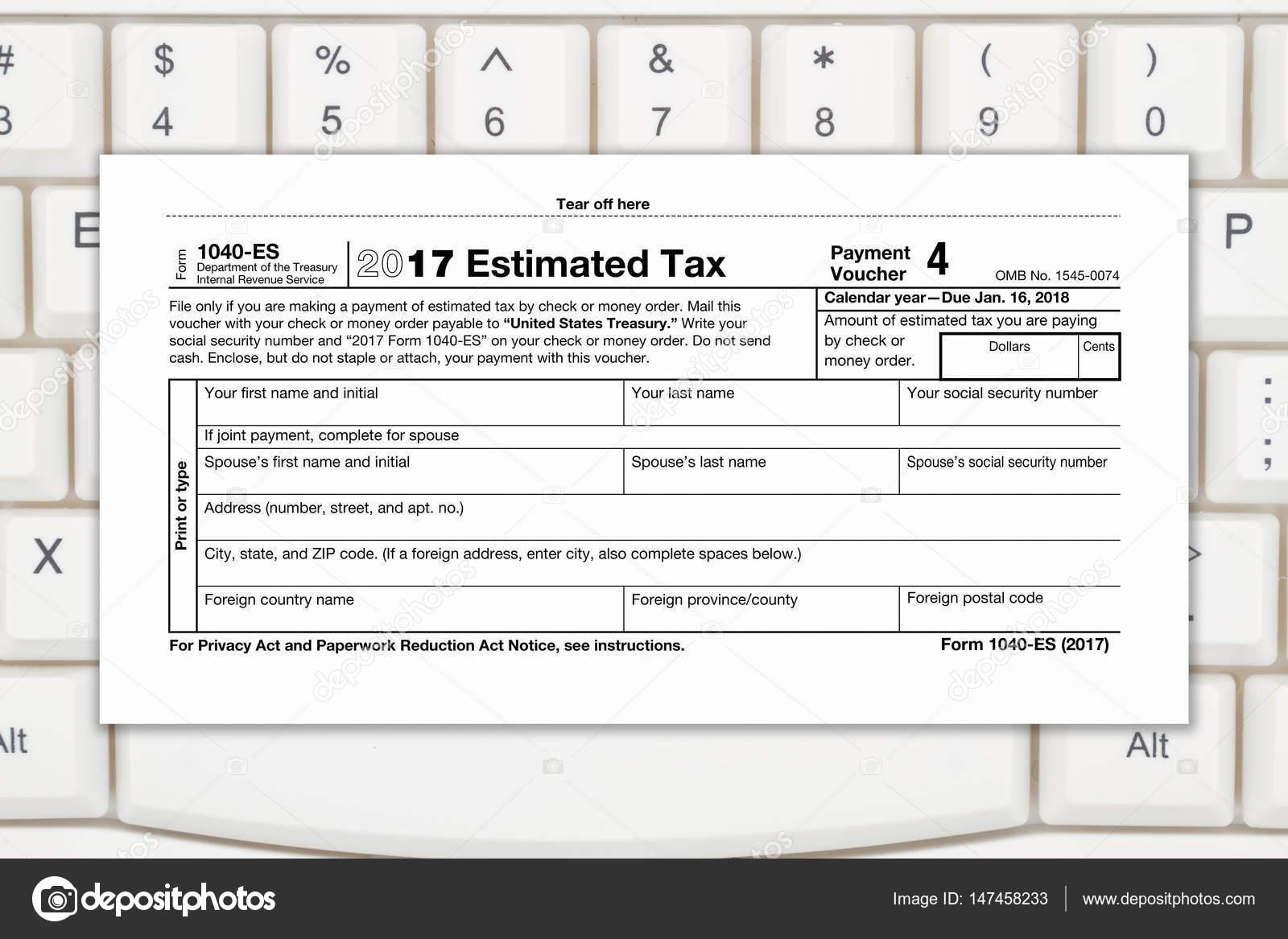Nos Federal impuesto 1040 Estimado impuesto renta forma — Foto de ...