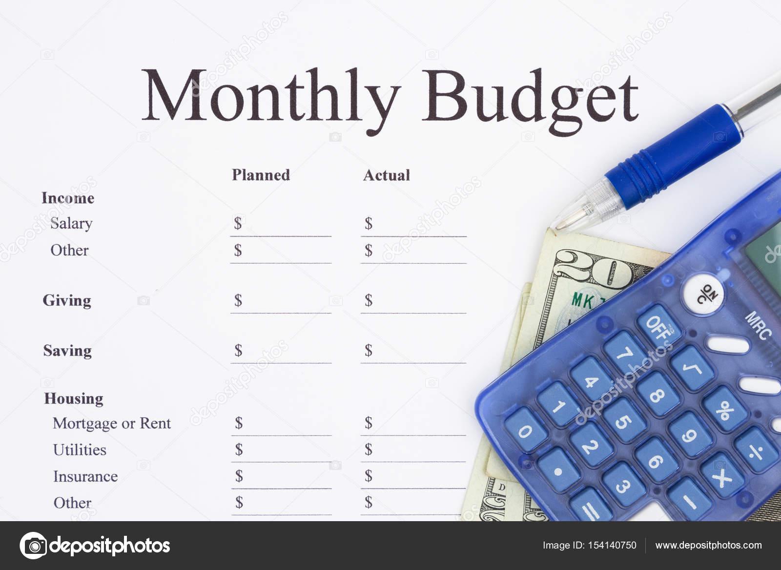 Erstellen eines monatlichen Budgets — Stockfoto © karenr #154140750