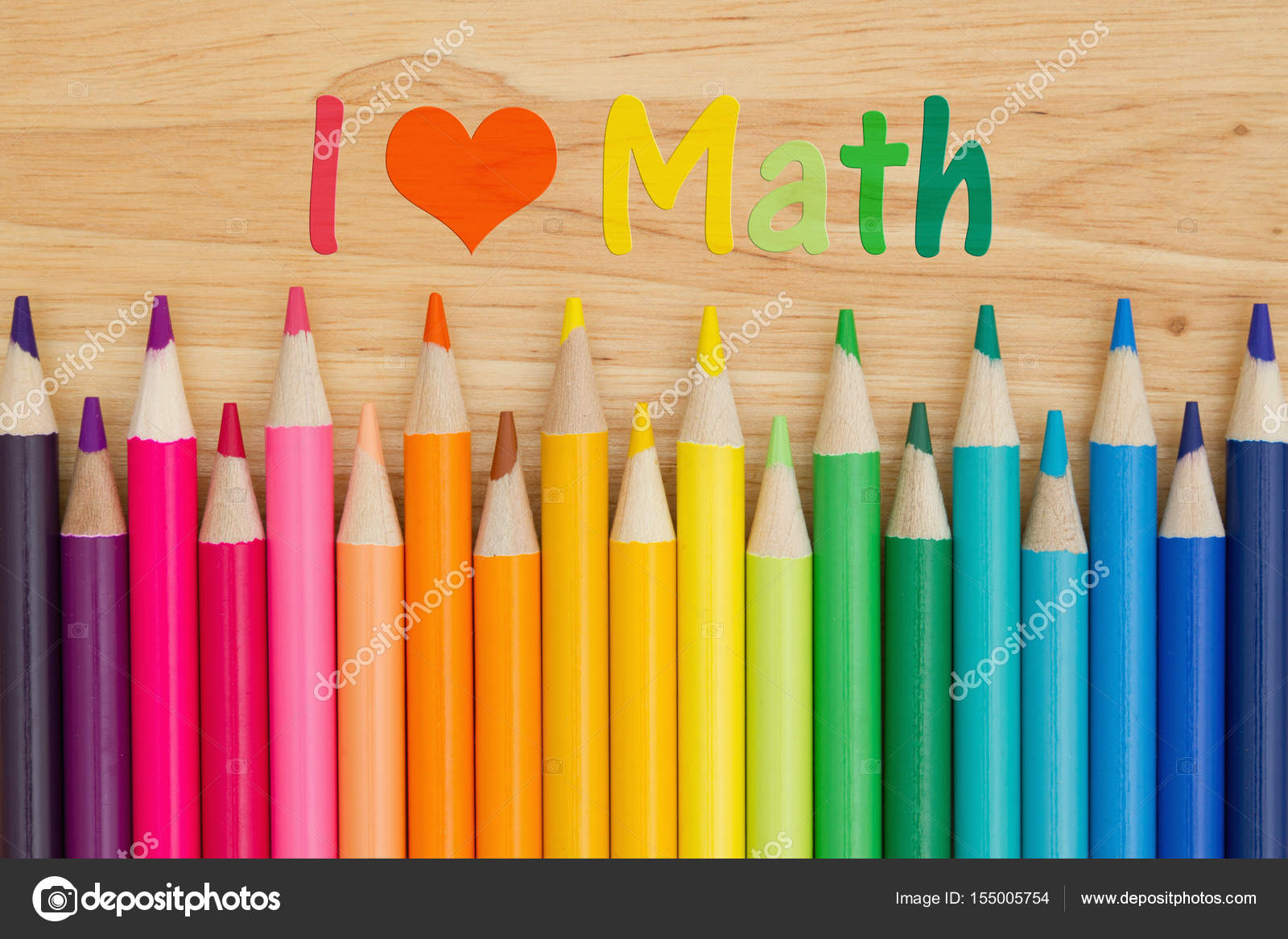 i love math message with pencil crayons — stock photo © karenr