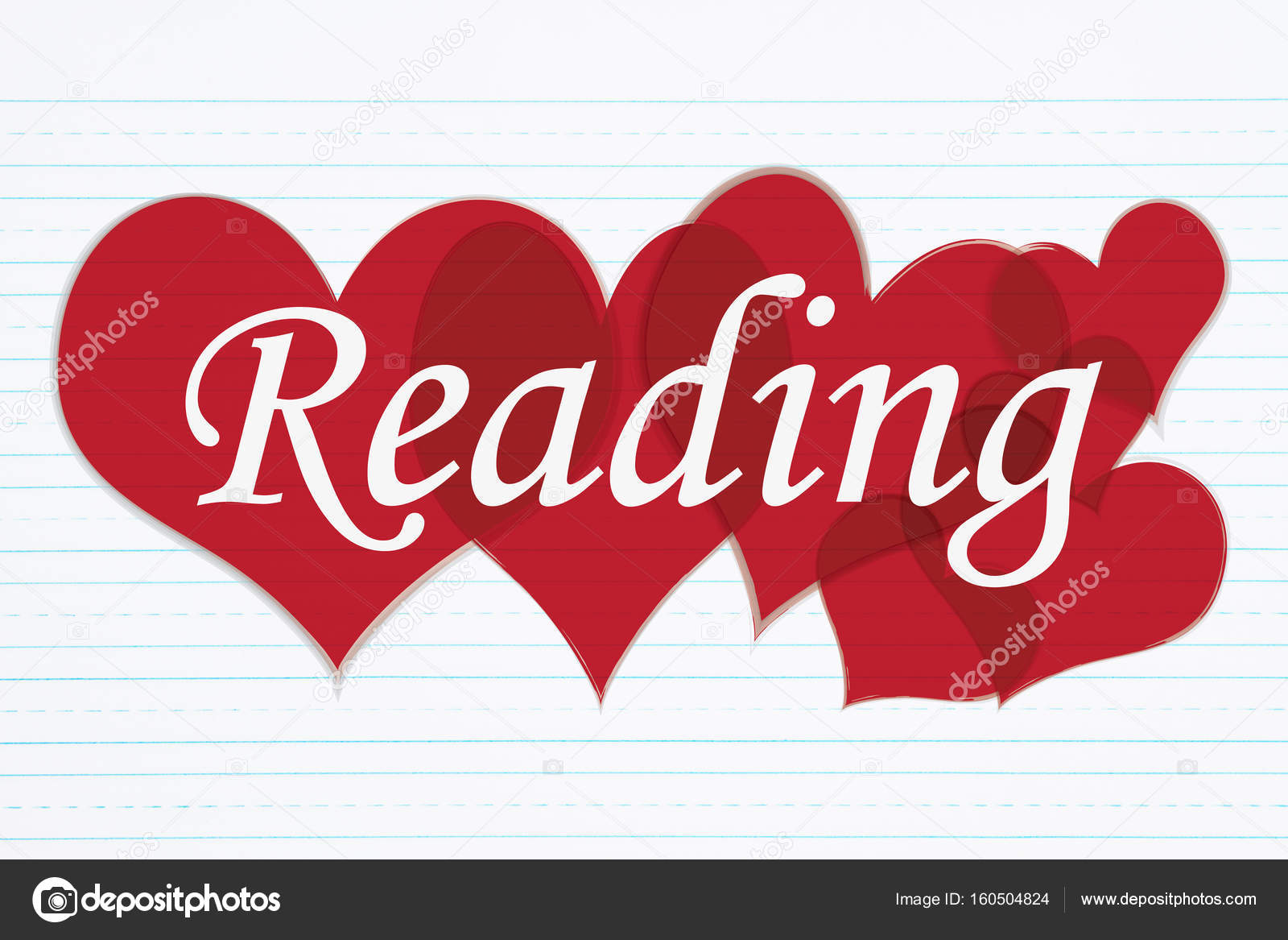 Retro lined paper with text Reading with red hearts — Stock