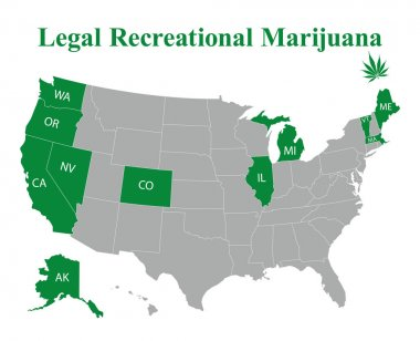 USA map of states with name abbreviations where marijuana is legal for recreational purposes on white stock vector