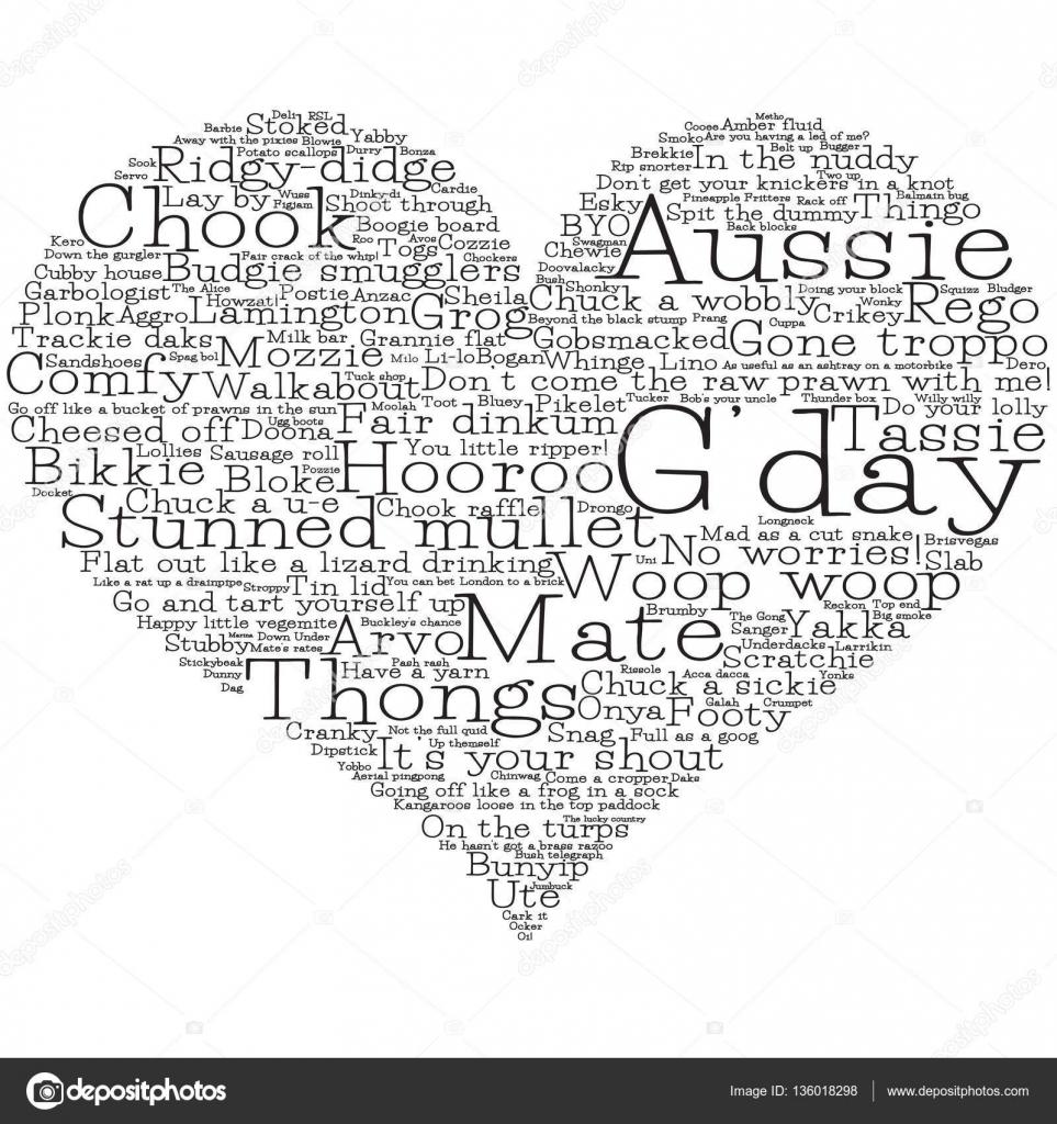 Heart made from australian slang words in vector format stock heart made from australian slang words in vector format stock vector kristyandbryce Gallery