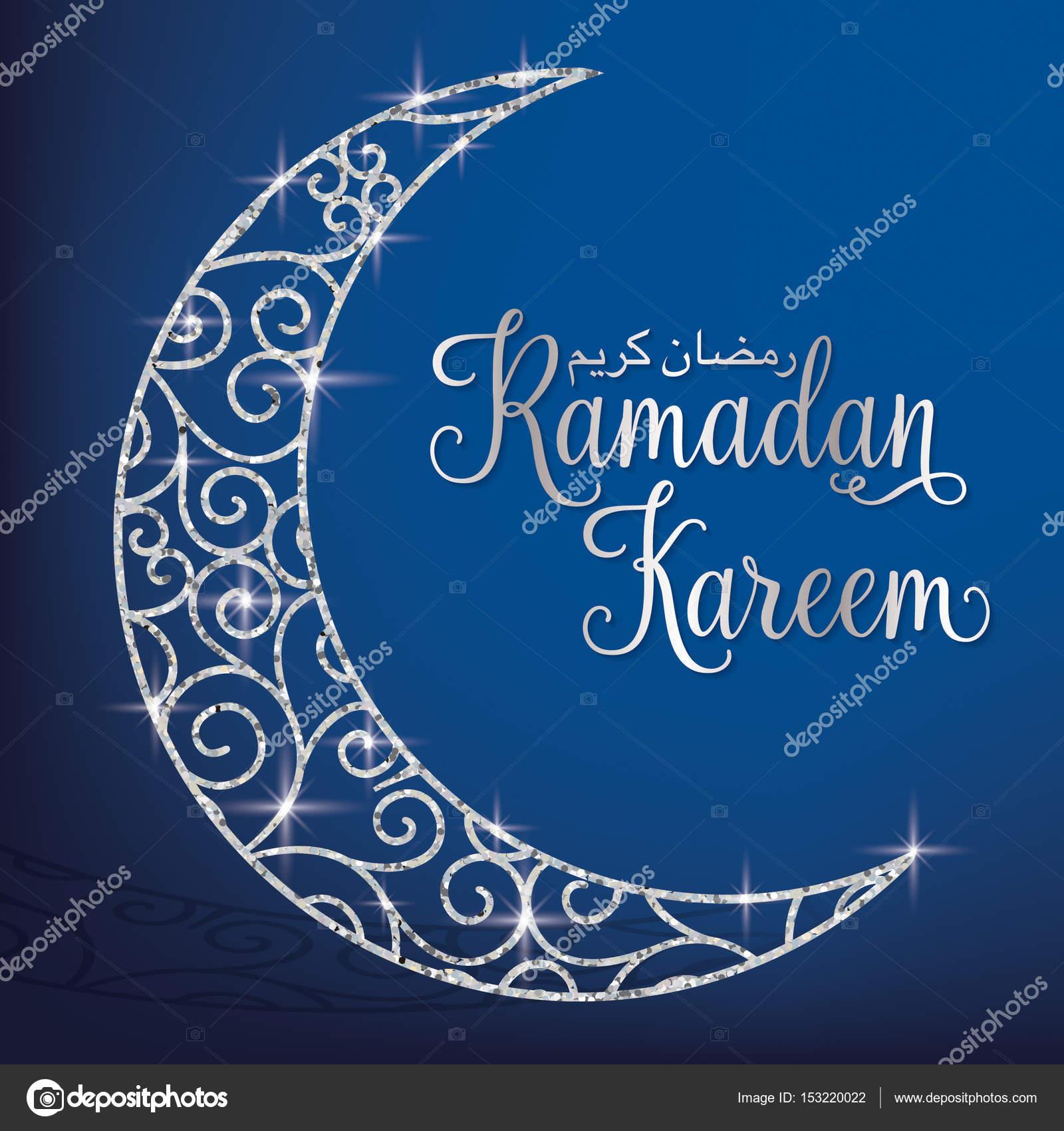 Jemne Trpytky Mesic Ramadan Kareem Stedry Ramadan Karta Stock