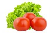 frische Tomaten und Salat isoliert auf weißem Hintergrund.