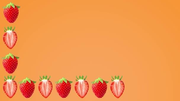 Erdbeerfrucht-Animation auf neonfarbenem Hintergrund