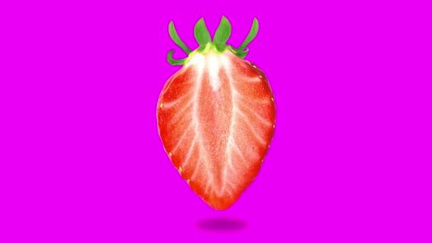 Zitronenfrucht-Animation auf neonfarbenem Hintergrund