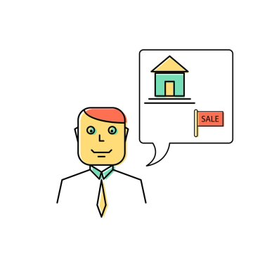 Real estate agent manager line icon illustration.