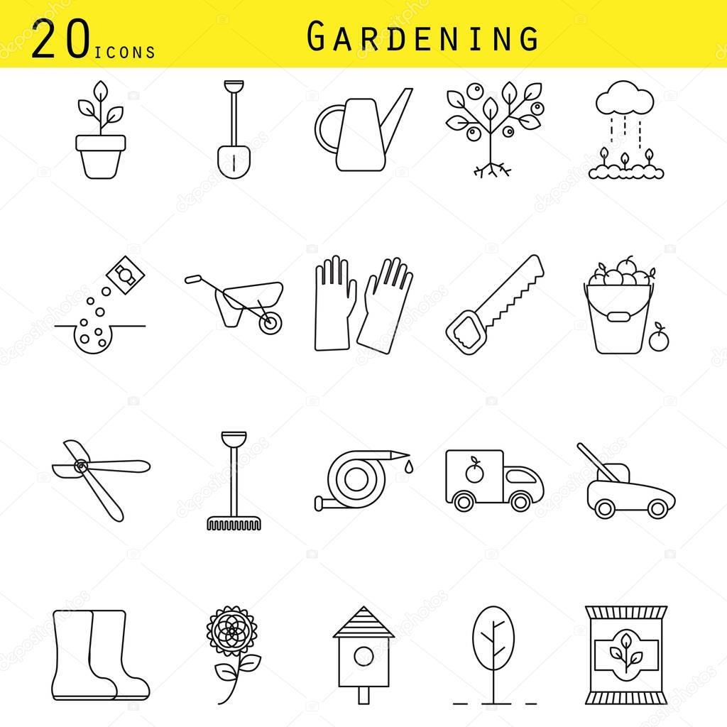 Gardening line icons vector set.