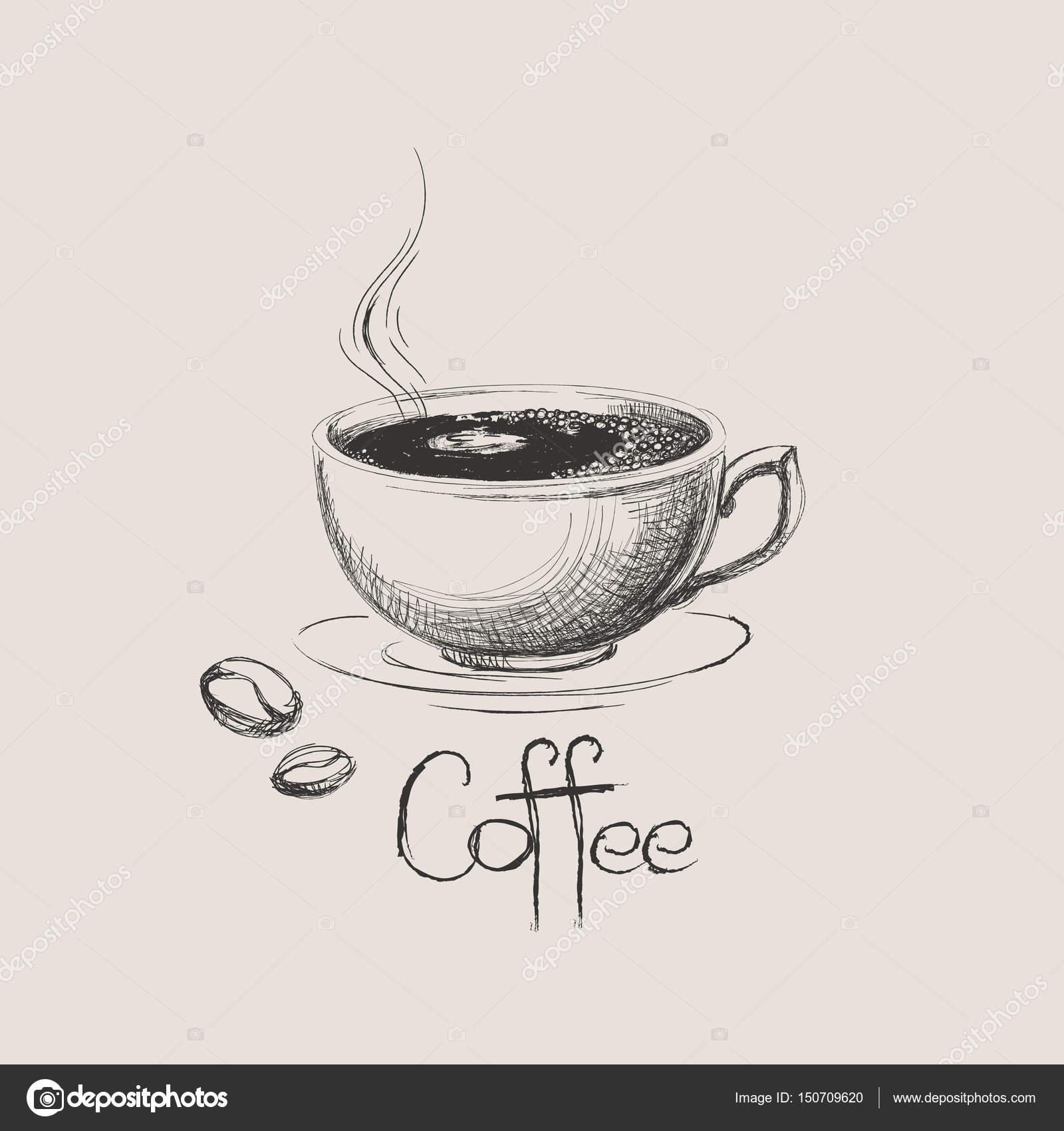 Hand Gezeichnet Kaffeetasse Mit Bohnen Isoliert Stockvektor