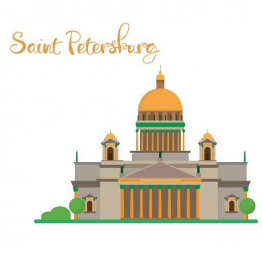 Saint Petersburg flat design Isaac cathedral with lettering