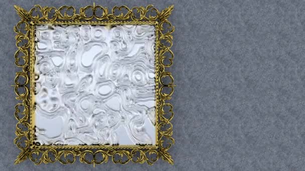 Abstract picture in a frame with an animated image on a gray background. 3d render