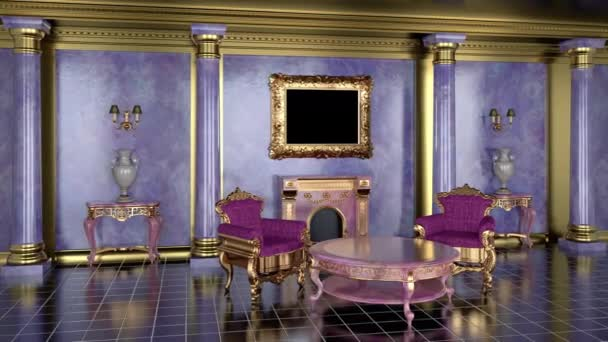 Mock up paintings in a golden frame with a transparent canvas in a classic interior with a fireplace. 3d render