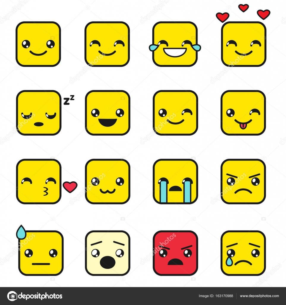 Cuadrados Kawaii Juego De Cute Kawaii Cuadrados Emojis Vector De