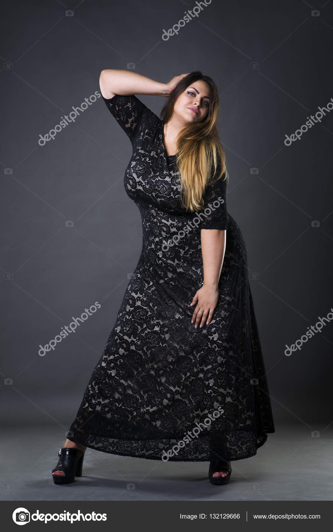 Young beautiful plus size model in black dres, xxl woman ...
