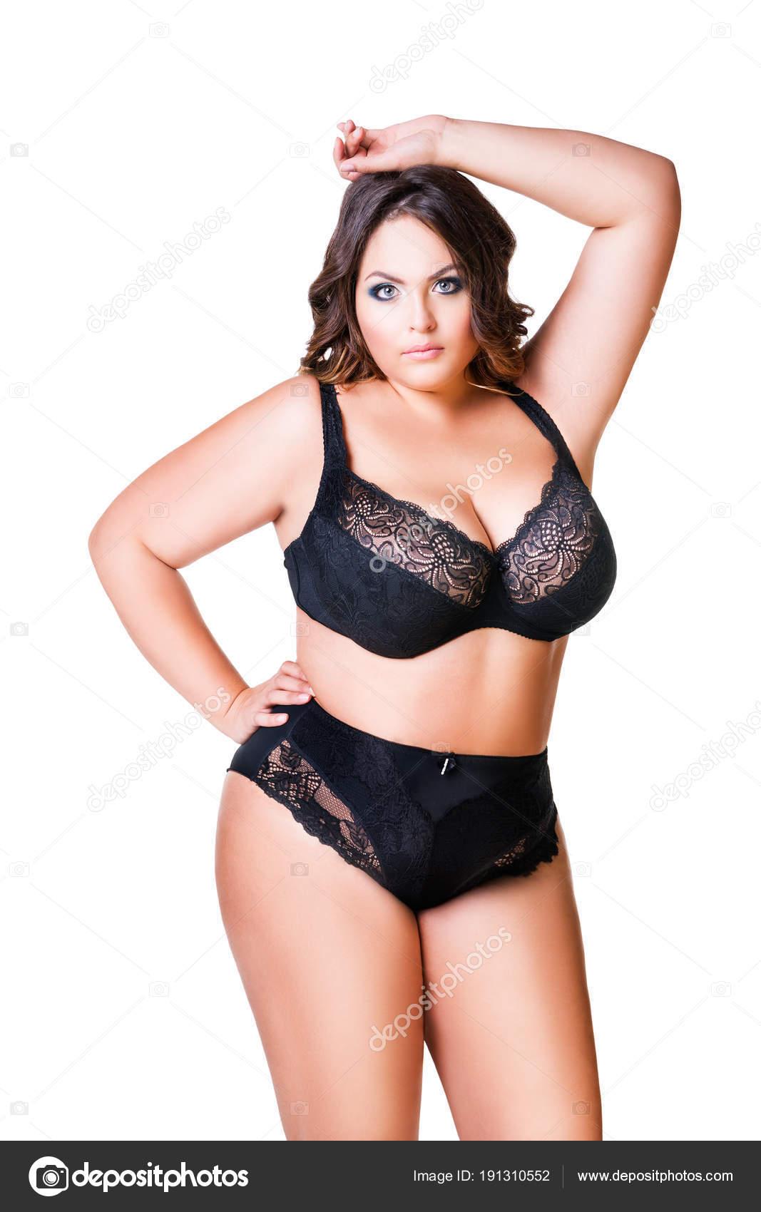 Grosse Femme Sexy Photo taille mannequin sexy en lingerie noire, grosse femme isolée sur