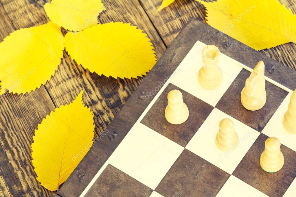 Chess pieces on board and autumn yellow leaves