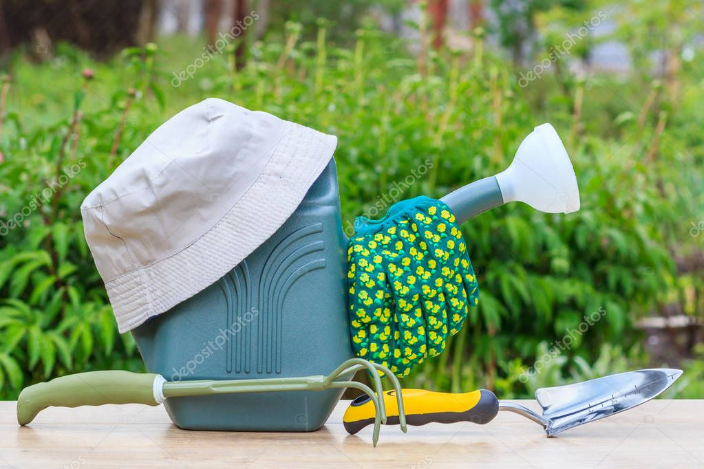 Watering can, hand shovel, rake, garden gloves and hat