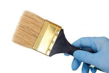 Woman holding painter brush on a white isolated background. Repair tool.