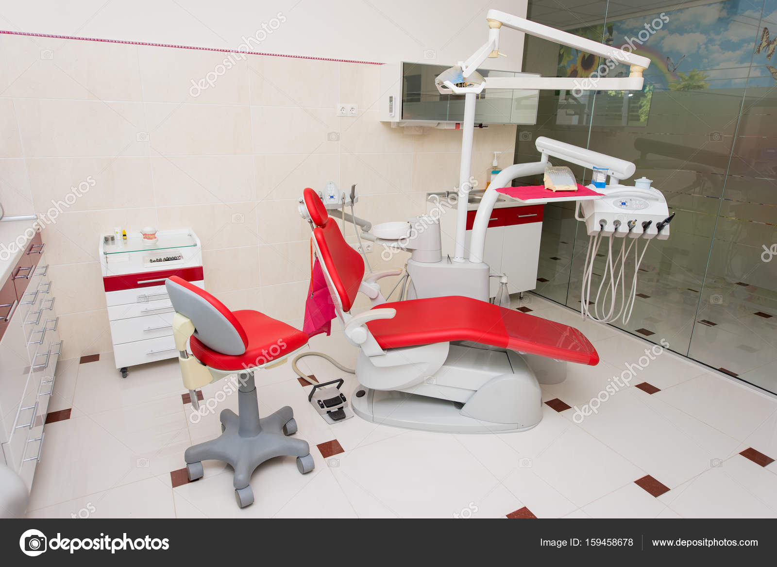 modern interior office stock. Dental Clinic With Modern Interior Design And Big Window. Chair, Equipment, Tools Other Accessories Used By Dentists. Office Stock E